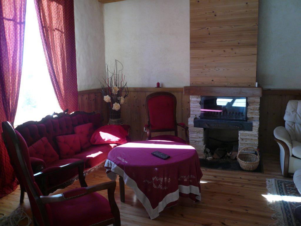 Petit salon avec cheminée et télévision